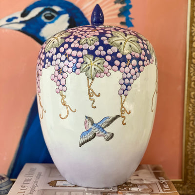 Large Chinoiserie Blue & Pink Grape Melon Jar