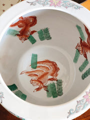 Vintage Chinese Hand Painted Floral Fish Bowl Planter