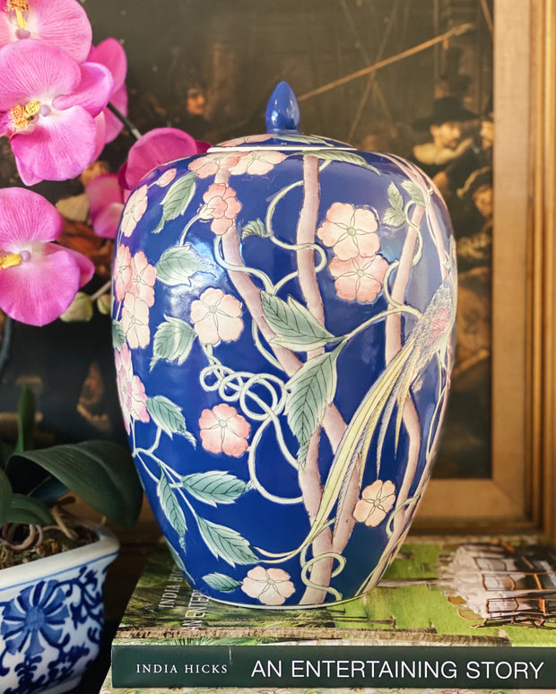 "Large 13"" Navy Blue Floral & Pheasant Melon Jar"