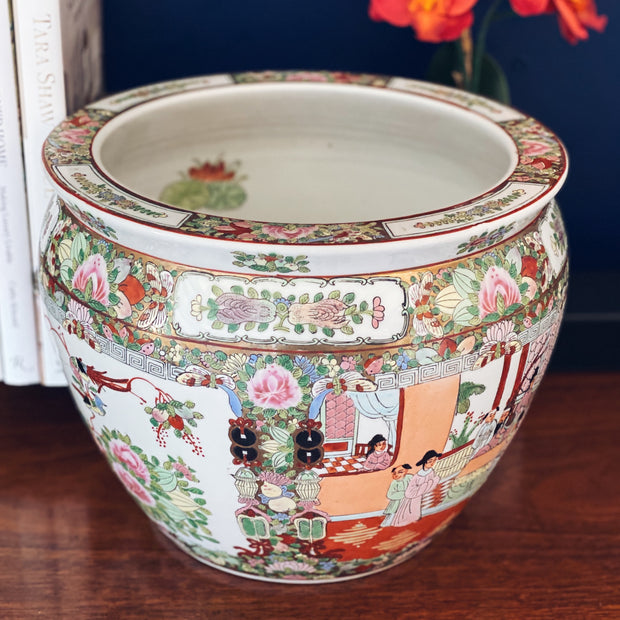 Large Vintage Famille Rose Medallion Fish Bowl Planter