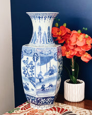 "Large 18"" Octagonal Blue & White Chinoiserie Floor Vase"