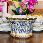 Blue & White Floral Scalloped Oval Jardiniere