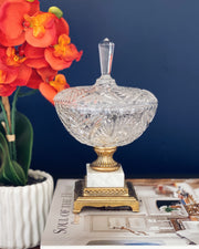 Crystal Candy Dish With Bronze & Marble Base