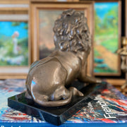 Vintage Bronze Lion Sculpture With Black Marble Base