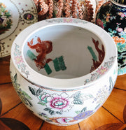 Large Chinese Hand Painted Lotus and Koi Fish Fish Bowl Planter