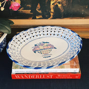 "Large 14"" Chinoiserie Blue & White Reticulated Platter"