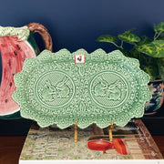 Bordallo Pink & Green Rabbit Sandwich Plates