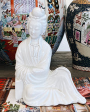 Pair Of Blanc De Chine Seated Guanyin Figurines