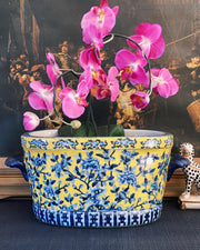 Blue & Yellow Oval Chinoiserie Foot Bath With Koi Fish