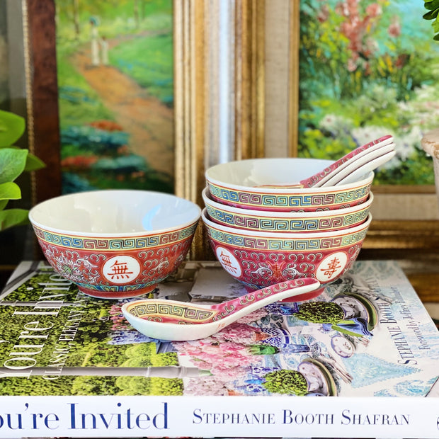Chinese Export Enamel Rice Bowls With Spoons