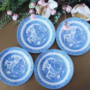 Antique Blue Willow Transferware China Plates