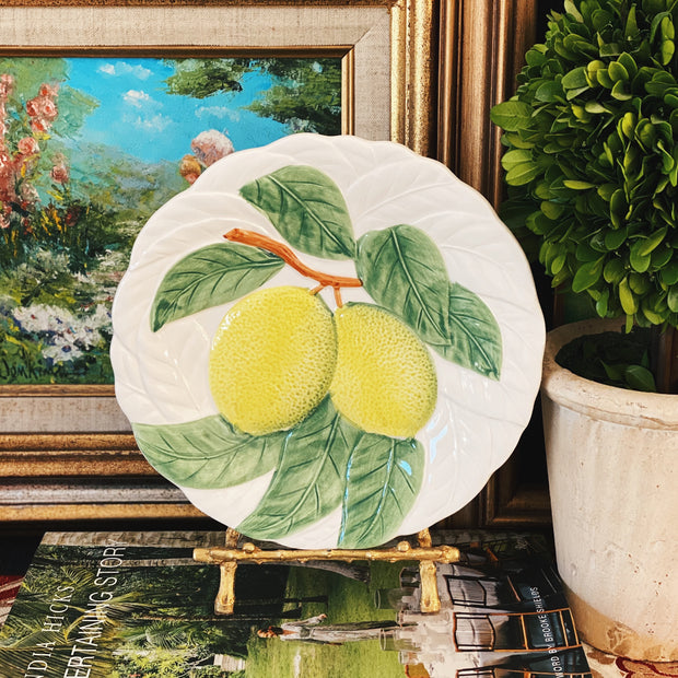 Japanese Majolica Embossed Fruit Plates Set