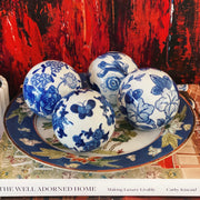 4 Unique Blue & White Porcelain Carpet Balls