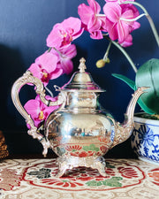 Vintage Oneida Ornate Silverplate Teapot With Sugar Bowl