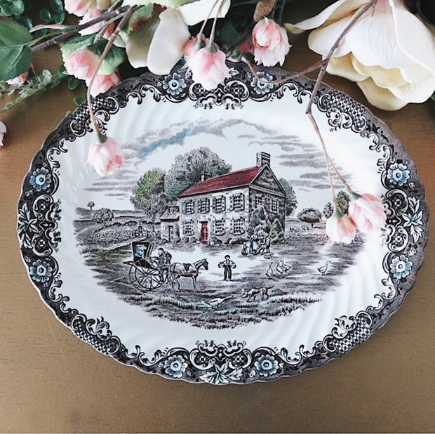 "12"" Johnson Brothers Oval Platter Heritage Hall"