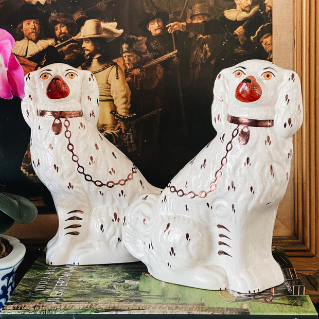 Pair Of Mid-Century English Staffordshire Dog Figurines