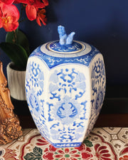 Blue & White Hexagonal Jar With Foo Dog Lid