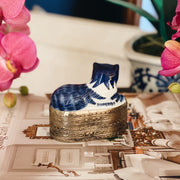 Shard Box With Blue & White Porcelain Cat Topper
