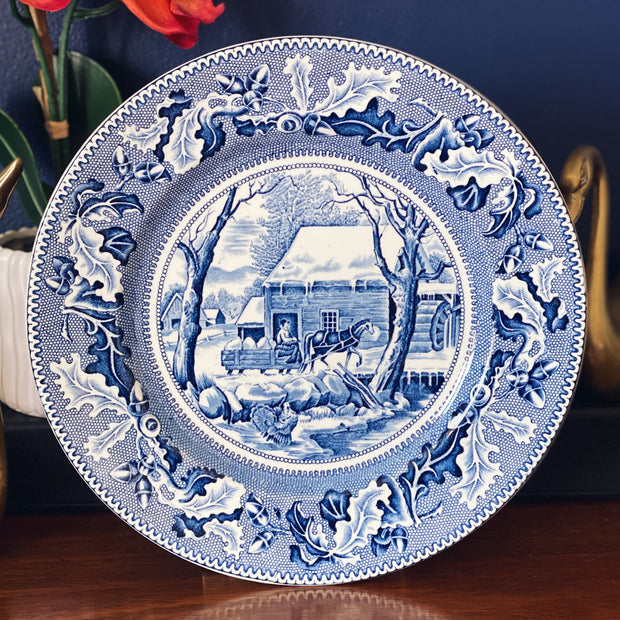 Blue & White Holiday Charger Plates Set