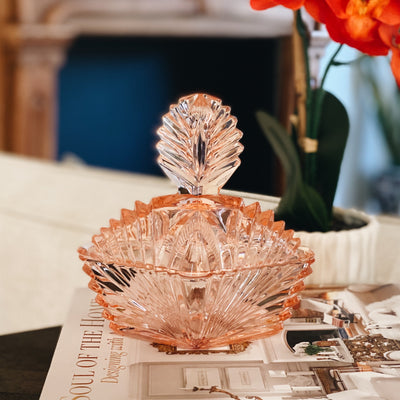 Art Deco Pink Glass Candy Dish