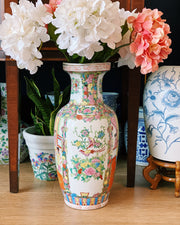 "Large 18"" Chinese Rose Medallion Baluster Vase"