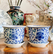 Pair of Blue and White Planters with Saucers
