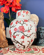 Red Cherry Blossoms Ginger Jar, Flat Top