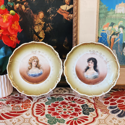 Antique Austrian Victorian Ladies Portrait Plates