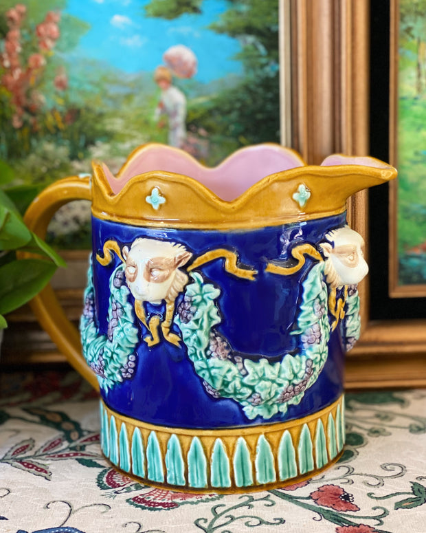Fitz & Floyd Majolica Lion & Grapevines Pitcher