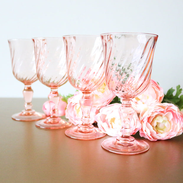 Vintage Pink Mixed Drinking Glasses, Set Of 15