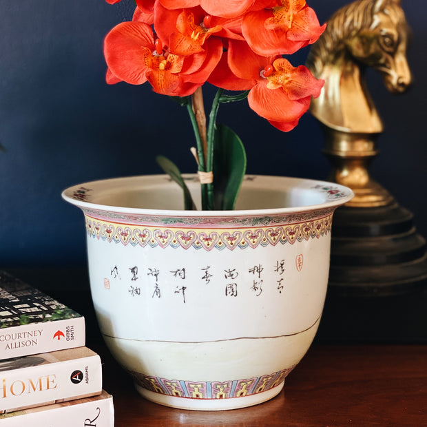 Chinoiserie Famille Rose Geisha Planter