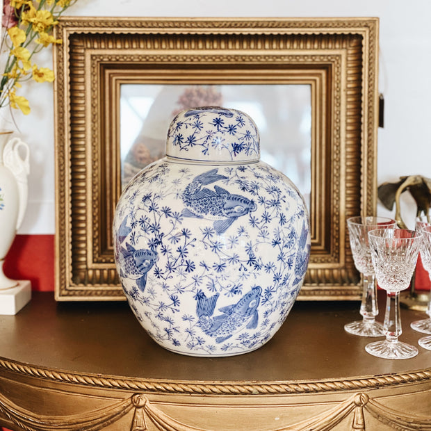 Blue and White Koi Fish Ginger Jar