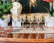 Antique Gold Etched Cordial Glasses Set