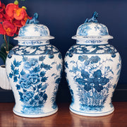 "Large 15"" Blue & White Chinese Export Temple Jars"