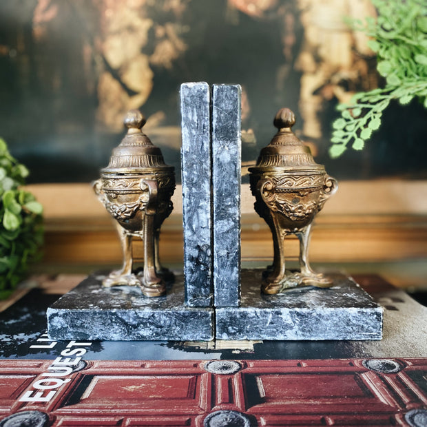 Vintage Brass & Granite Roman Urns Bookends
