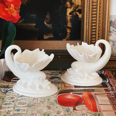 Royal Worcester Dolphin Shell Caviar Servers
