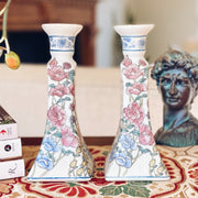Pair Of Vintage Chinese Porcelain Candlestick Holders