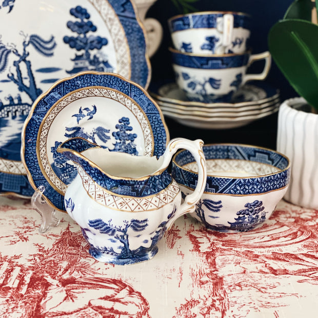 Booth's Real Old Blue Willow Sugar & Creamer Set