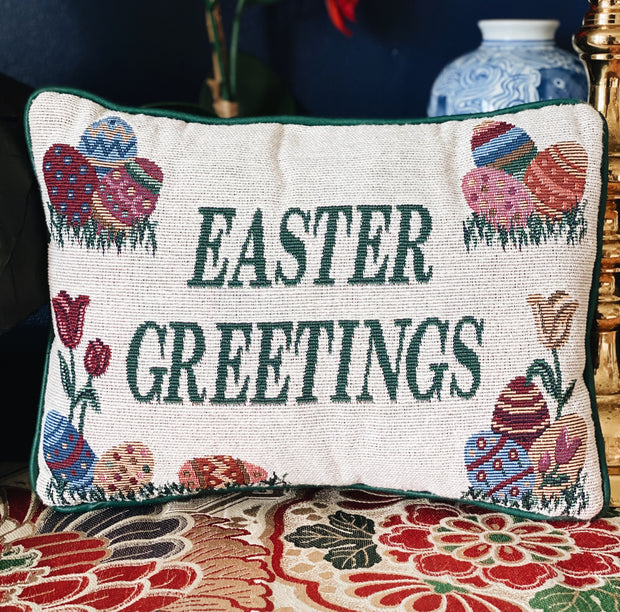 Vintage Easter Greetings Needlepoint Pillow