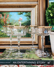 Tall Gold Rimmed Crystal Large Coupes