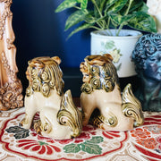 Vintage Majolica Brown Foo Dogs Pair