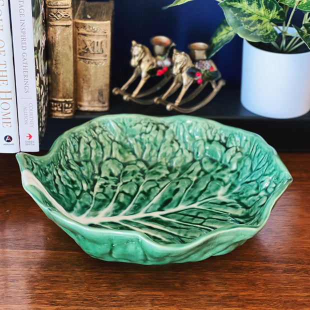 Large Portuguese Majolica Green Cabbage Bowl