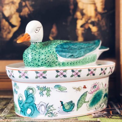 Vintage Green Duck Lidded Tureen