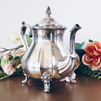 Vintage 1960s Large Ornate Silverplate Teapot