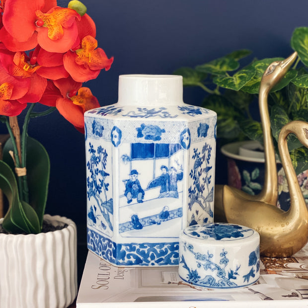 Large Blue & White Chinoiserie Tea Caddy