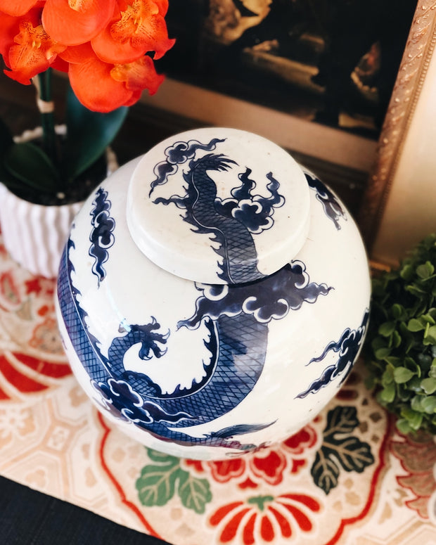 Blue & White Flying Dragon Ginger Jar