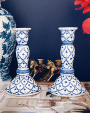 Blue & White Candle Holders by Andrea by Sadek
