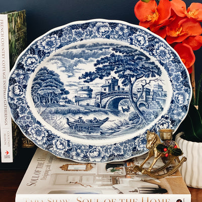 Blue & White Transferware Oval Platter