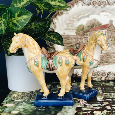 Vintage Pair Of Tang Standing Horse Figurines