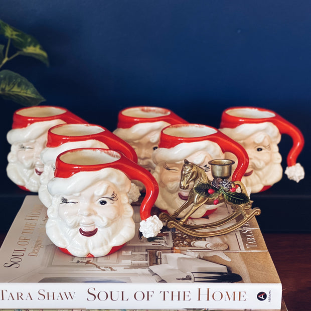 Vintage Winking Santa Mugs Set Of 6